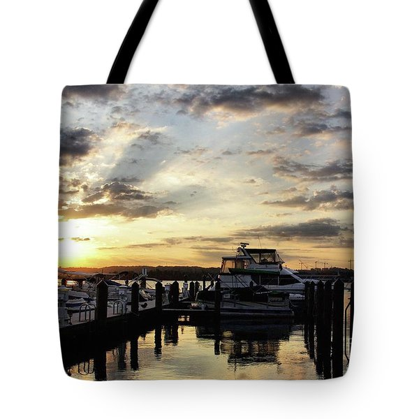 Sunrise On The Alexandria Waterfront Tote Bag