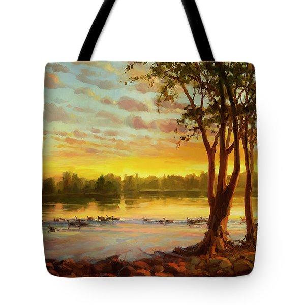 Sunrise On The Columbia Tote Bag