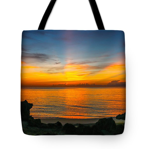 Sunrise On The Rocks Tote Bag