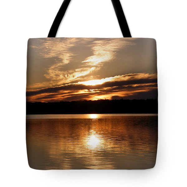 Sunrise On The Turtle Flambeau Flowage Tote Bag by Angie Rea