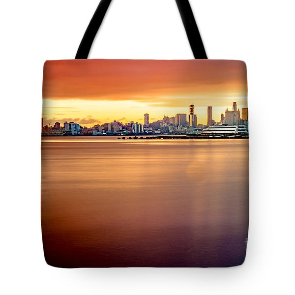 Sunrise On The Weehawken Waterfront Tote Bag
