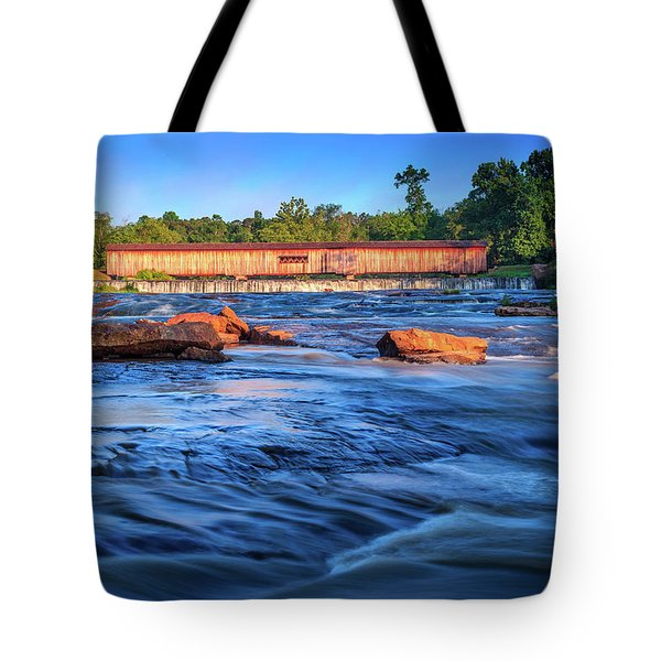 Tote Bag featuring the photograph Sunrise On Watson Mill Bridge by Doug Camara