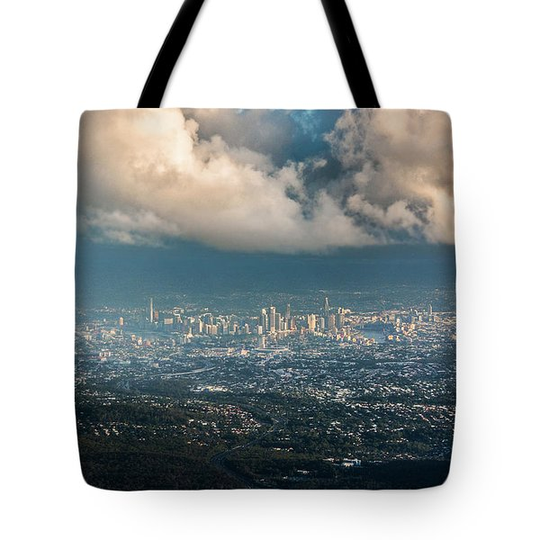 Tote Bag featuring the photograph Sunrise Over A Cloudy Brisbane by Parker Cunningham