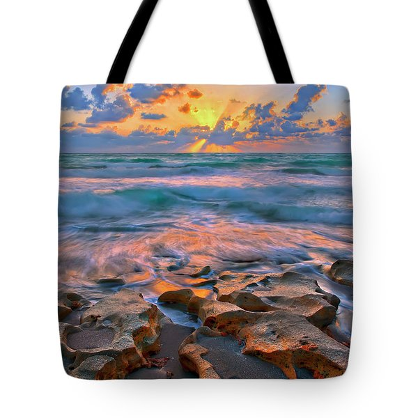 Tote Bag featuring the photograph Sunrise Over Carlin Park In Jupiter Florida by Justin Kelefas