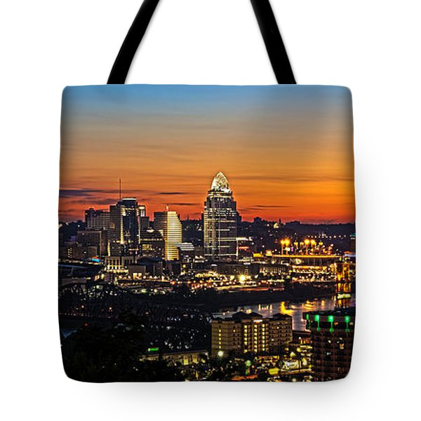 Sunrise Over Cincinnati Tote Bag by Keith Allen
