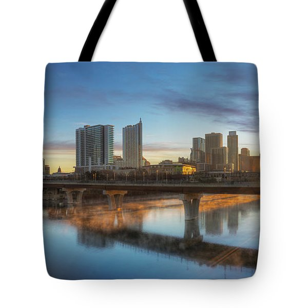 Sunrise Over Downtown Austin And Lady Bird Lake Pano 2 Tote Bag