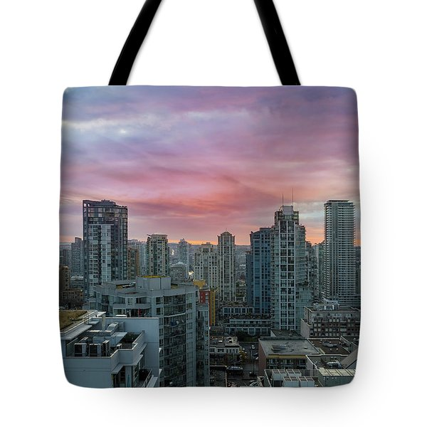 Sunrise Over Downtown Vancouver Bc Tote Bag