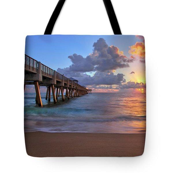 Sunrise Over Juno Beach Pier In Florida Tote Bag