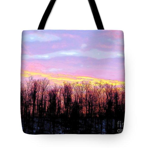 Sunrise Over Lake Tote Bag