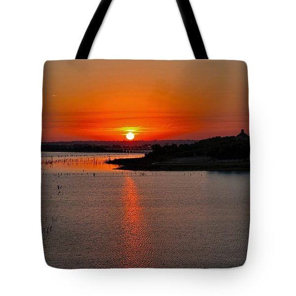 Tote Bag featuring the photograph Sunrise Over Lake Ray Hubbard by Diana Mary Sharpton