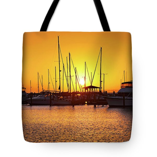 Tote Bag featuring the photograph Sunrise Over Long Beach Harbor - Mississippi - Boats by Jason Politte