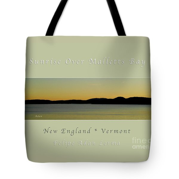 Sunrise Over Malletts Bay Greeting Card And Poster - Six V4 Tote Bag by Felipe Adan Lerma