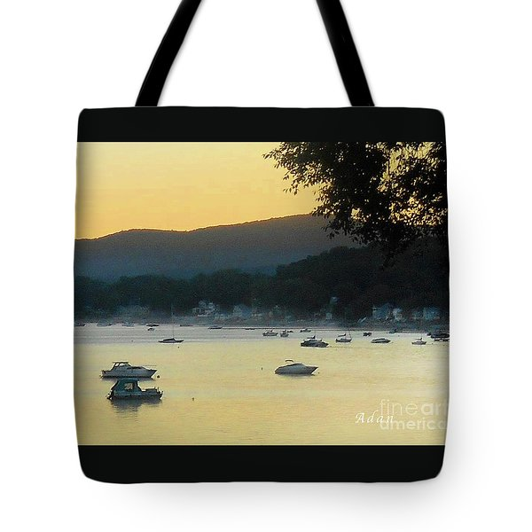 Sunrise Over Malletts Bay Panorama - Nine V2 Detail Tote Bag by Felipe Adan Lerma