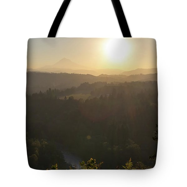 Sunrise Over Mount Hood And Sandy River Tote Bag by David Gn