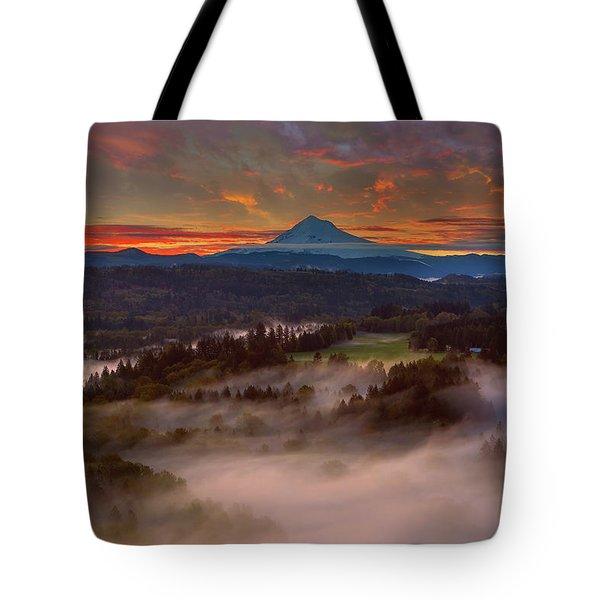 Sunrise Over Mount Hood And Sandy River Valley Tote Bag by David Gn