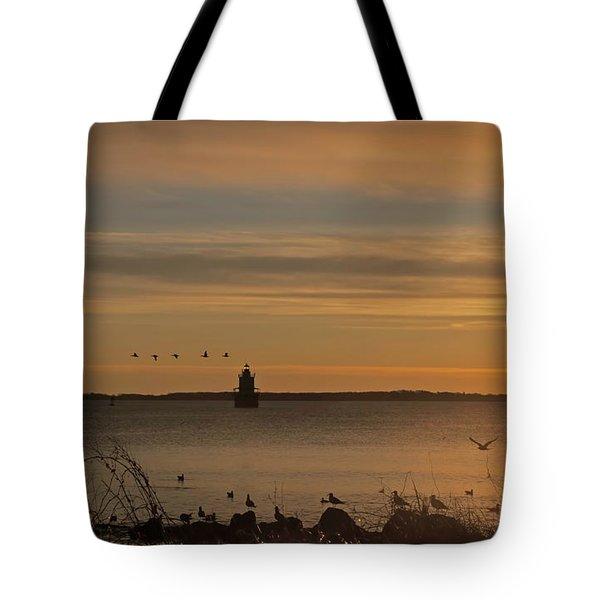 Sunrise Over New Bedford Tote Bag