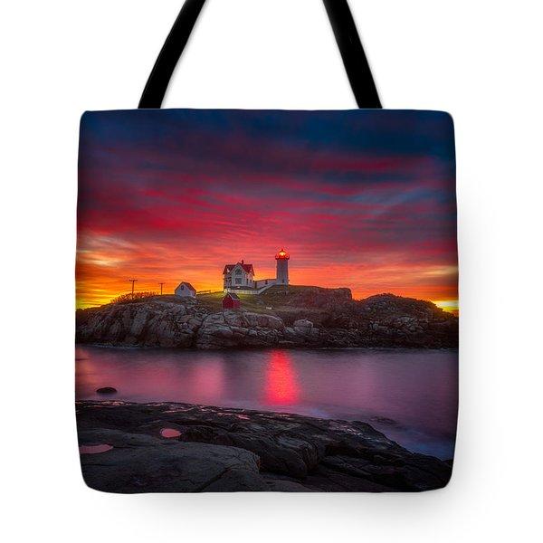 Sunrise Over Nubble Light Tote Bag