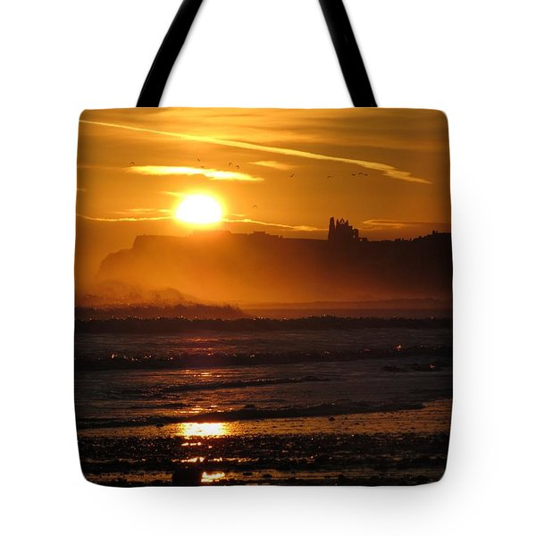 Sunrise Over Sandsend Beach Tote Bag