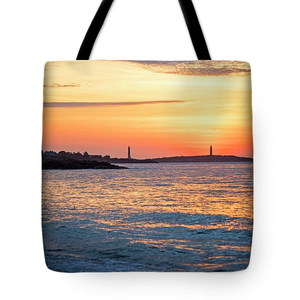 Sunrise Over Thacher Island From Long Beach In Gloucester Ma Golden Sunrise Tote Bag