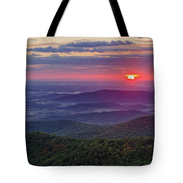 Tote Bag featuring the photograph Sunrise Over The Blue Ridge by Lori Coleman