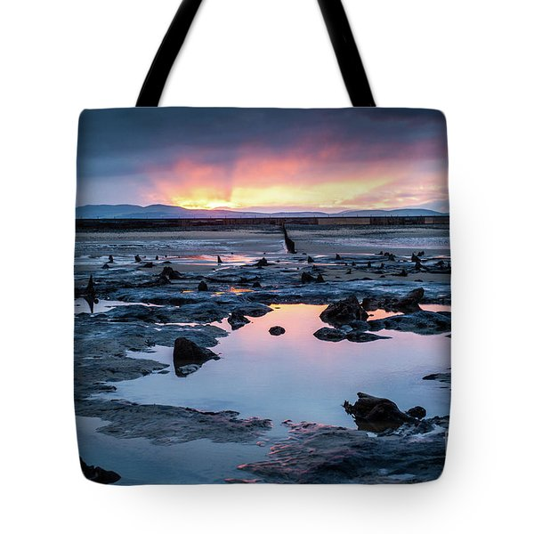 Sunrise Over The Bronze Age Sunken Forest At Borth On The West Wales Coast Uk Tote Bag