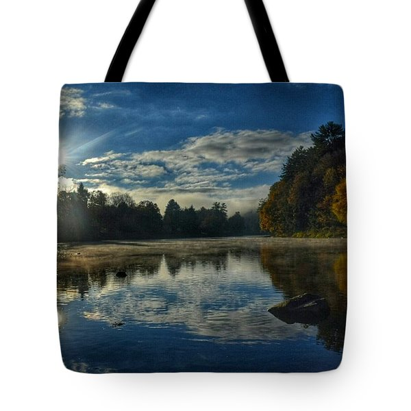 Sunrise Over The Clarion River Tote Bag