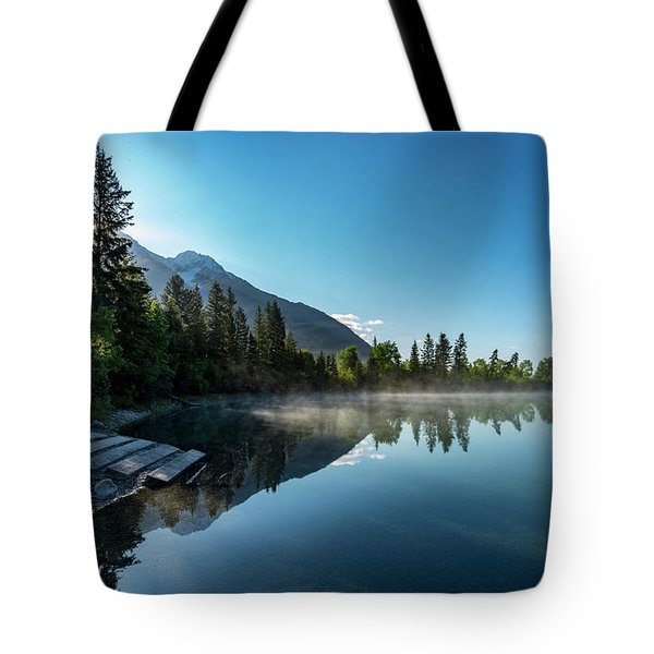 Tote Bag featuring the photograph Sunrise Over The Mountain And Through The Tree by Darcy Michaelchuk