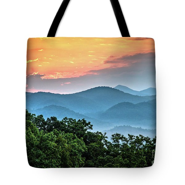 Tote Bag featuring the photograph Sunrise Over The Smoky's by Douglas Stucky