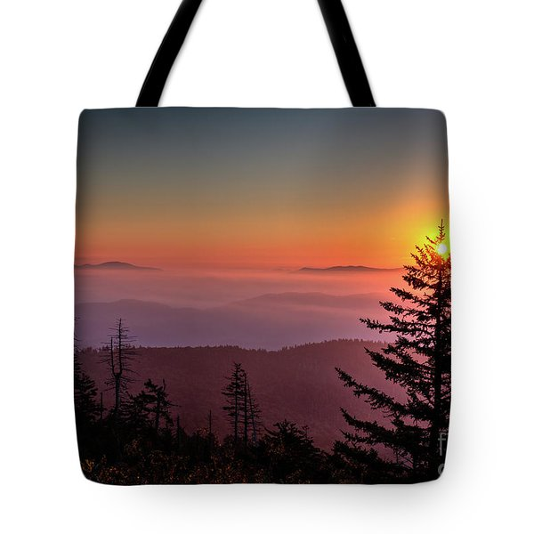 Tote Bag featuring the photograph Sunrise Over The Smoky's IIi by Douglas Stucky