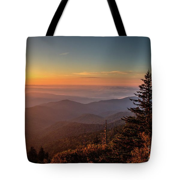 Tote Bag featuring the photograph Sunrise Over The Smoky's V by Douglas Stucky
