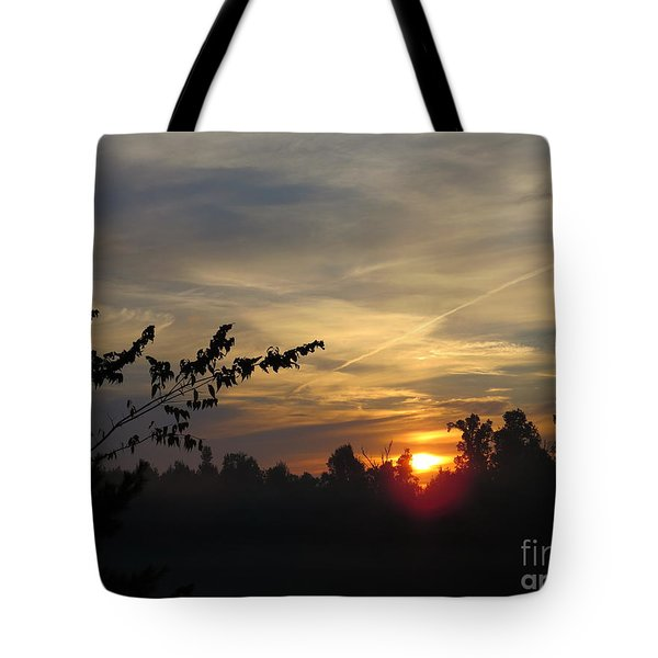 Sunrise Over The Trees Tote Bag