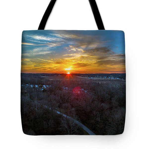 Sunrise Over The Woods Tote Bag