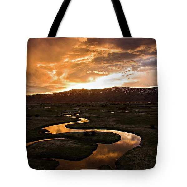 Sunrise Over Winding River Tote Bag