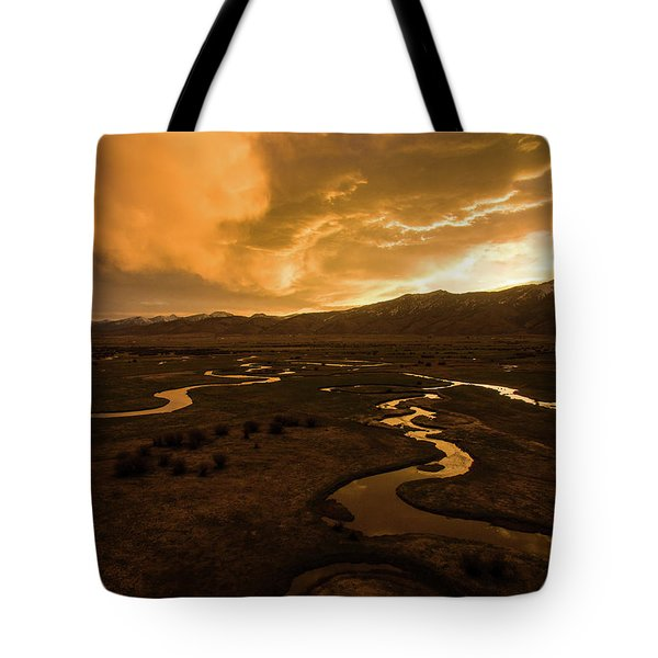 Sunrise Over Winding Rivers Tote Bag
