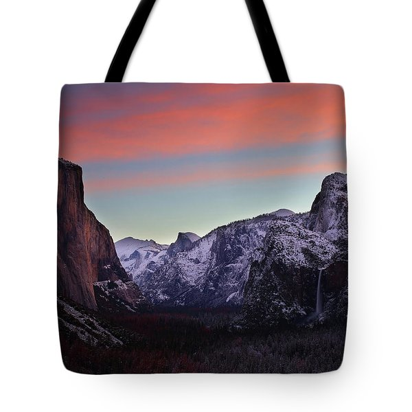 Sunrise Over Yosemite Valley In Winter Tote Bag