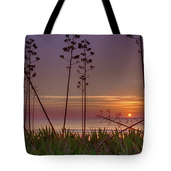 Sunrise Palm Blooms Tote Bag