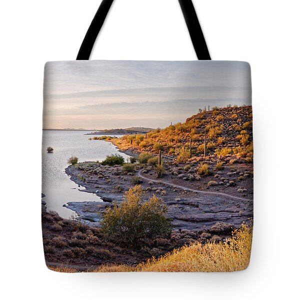 Sunrise Panorama Of Lake Pleasant In Peoria Arizona Tote Bag