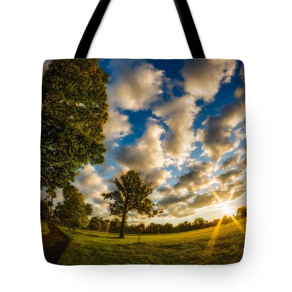 Sunrise Path At Meadows Edge Tote Bag by Chris Bordeleau