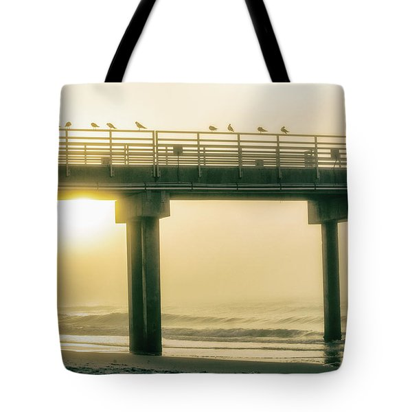 Tote Bag featuring the photograph Sunrise Pier In Alabama  by John McGraw