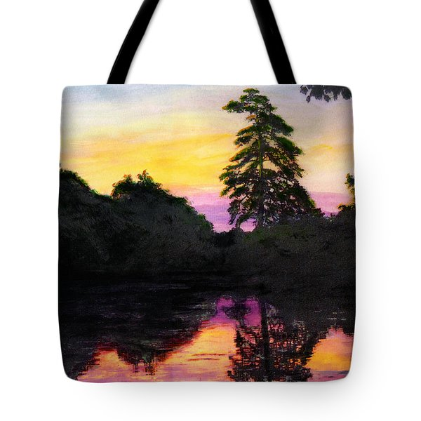 Sunrise Pond Maryland Landscape Original Fine Art Painting Tote Bag