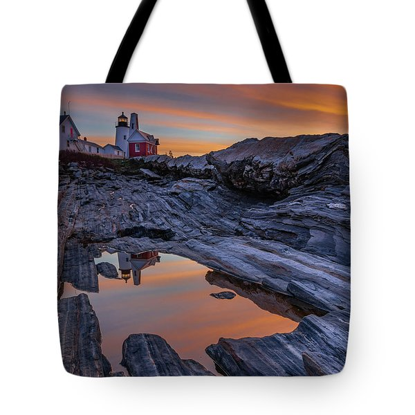 Sunrise Reflections At Pemaquid Point Tote Bag