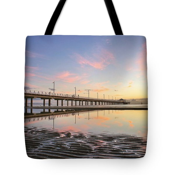 Sunrise Reflections At The Shorncliffe Pier Tote Bag