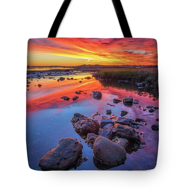 Sunrise Reflections In Harpswell Tote Bag