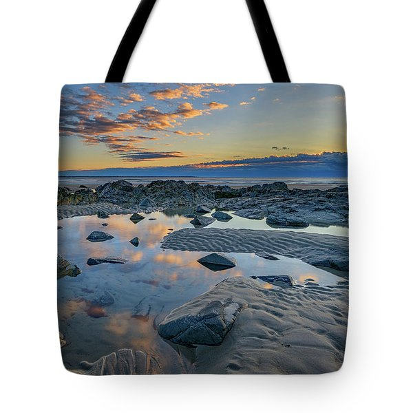 Tote Bag featuring the photograph Sunrise Reflections On Wells Beach by Rick Berk