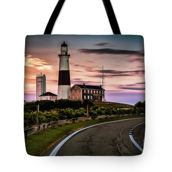 Sunrise Road To The Montauk Lighthous Tote Bag