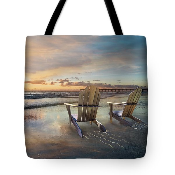Tote Bag featuring the photograph Sunrise Romance by Debra and Dave Vanderlaan