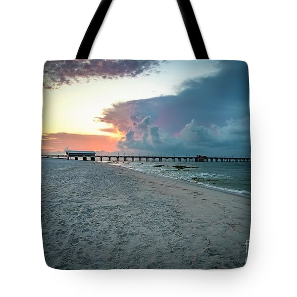 Sunrise Seascape Gulf Shores Al Pier 064a Tote Bag