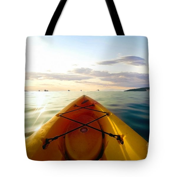 Sunrise Seascape Kayak Adventure Tote Bag