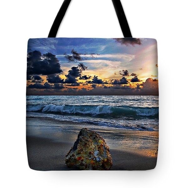 Sunrise Seascape Wisdom Beach Florida C3 Tote Bag by Ricardos Creations