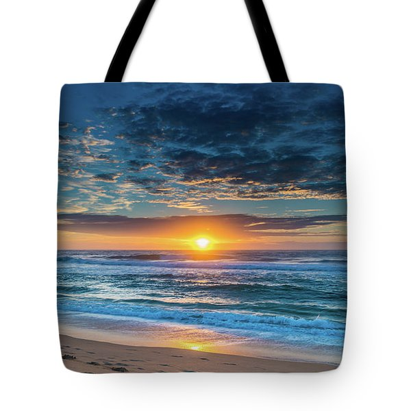Sunrise Seascape With Footprints In The Sand Tote Bag
